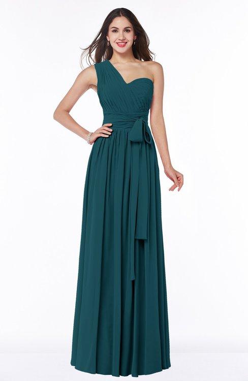 ColsBM Emmeline Blue Green Modern A-line Half Backless Chiffon Floor Length Ruching Plus Size Bridesmaid Dresses