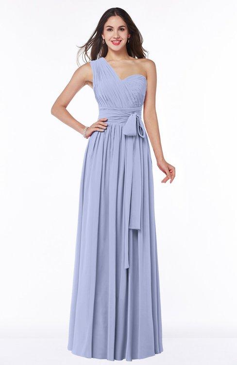 ColsBM Emmeline Blue Heron Modern A-line Half Backless Chiffon Floor Length Ruching Plus Size Bridesmaid Dresses