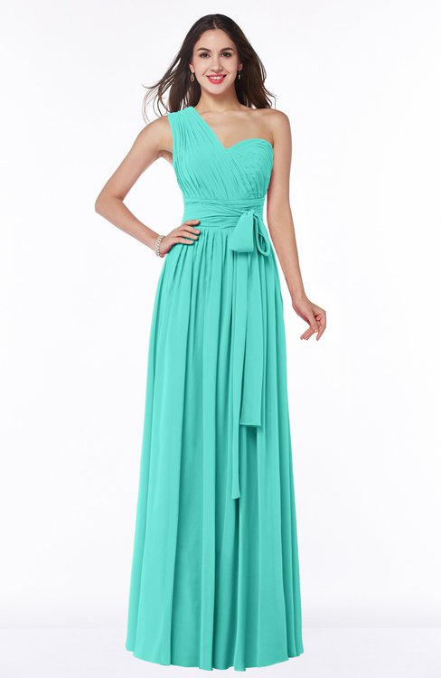 ColsBM Emmeline Blue Turquoise Modern A-line Half Backless Chiffon Floor Length Ruching Plus Size Bridesmaid Dresses