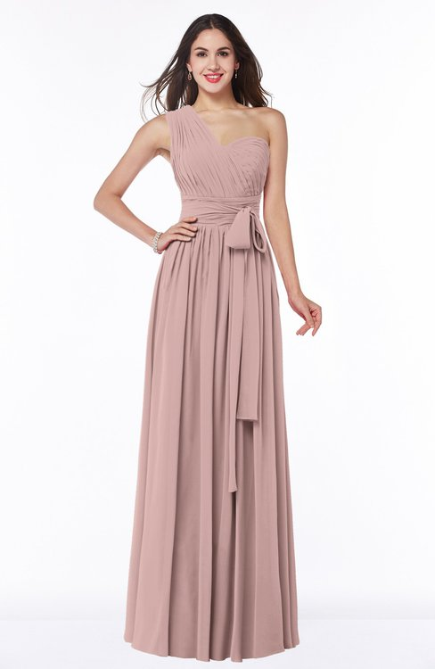 ColsBM Emmeline Blush Pink Modern A-line Half Backless Chiffon Floor Length Ruching Plus Size Bridesmaid Dresses