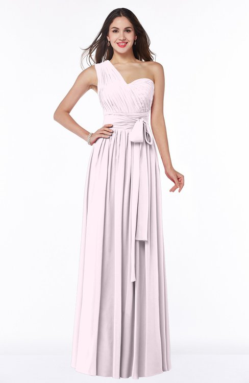 ColsBM Emmeline Blush Modern A-line Half Backless Chiffon Floor Length Ruching Plus Size Bridesmaid Dresses