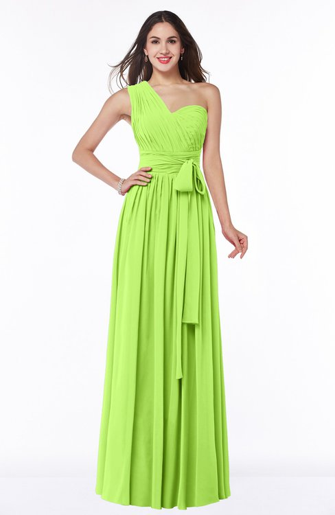ColsBM Emmeline Bright Green Modern A-line Half Backless Chiffon Floor Length Ruching Plus Size Bridesmaid Dresses