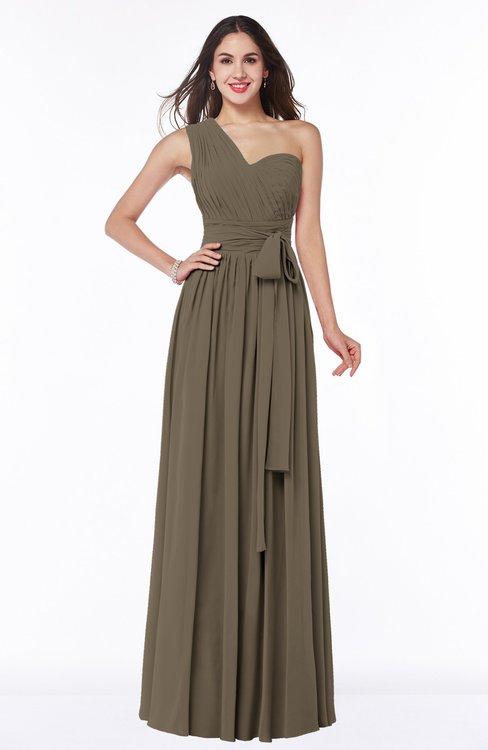 ColsBM Emmeline Carafe Brown Modern A-line Half Backless Chiffon Floor Length Ruching Plus Size Bridesmaid Dresses
