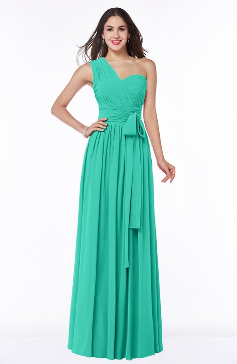 ColsBM Emmeline Ceramic Modern A-line Half Backless Chiffon Floor Length Ruching Plus Size Bridesmaid Dresses
