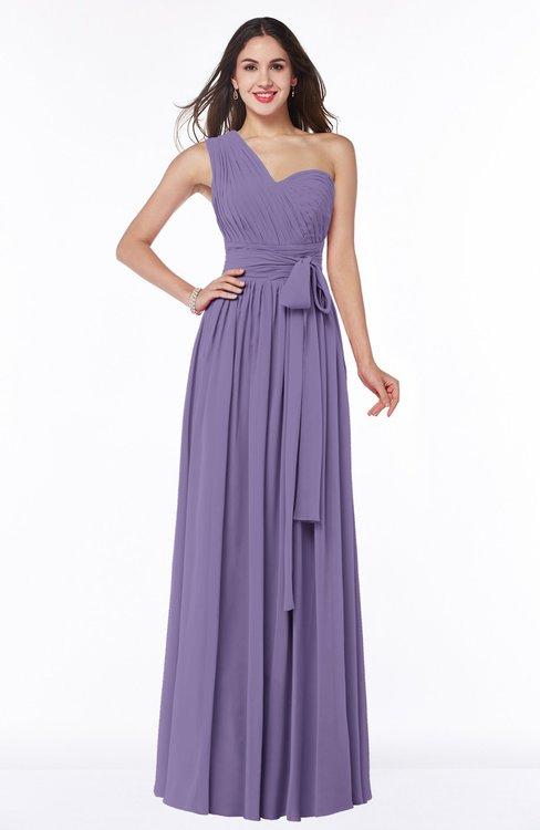 ColsBM Emmeline Chalk Violet Modern A-line Half Backless Chiffon Floor Length Ruching Plus Size Bridesmaid Dresses