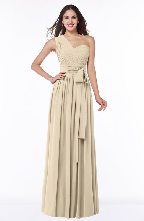 ColsBM Emmeline Champagne Modern A-line Half Backless Chiffon Floor Length Ruching Plus Size Bridesmaid Dresses