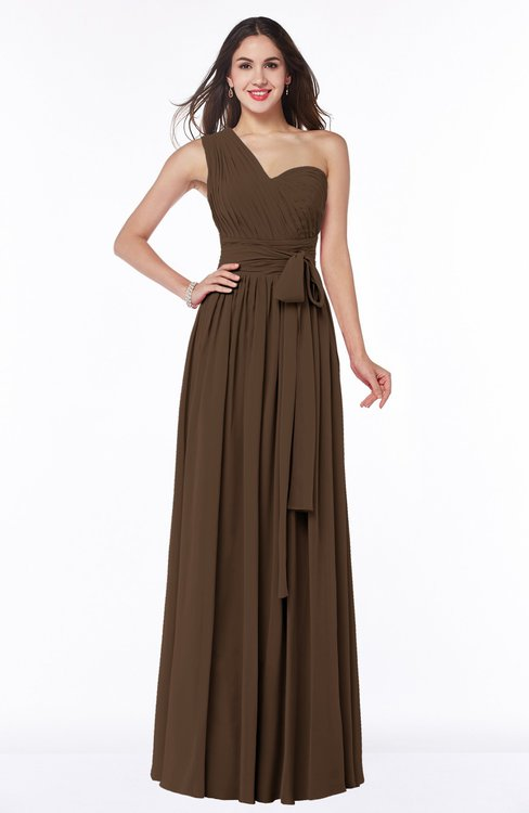 ColsBM Emmeline Chocolate Brown Modern A-line Half Backless Chiffon Floor Length Ruching Plus Size Bridesmaid Dresses