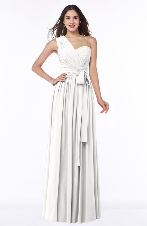 ColsBM Emmeline Cloud White Modern A-line Half Backless Chiffon Floor Length Ruching Plus Size Bridesmaid Dresses