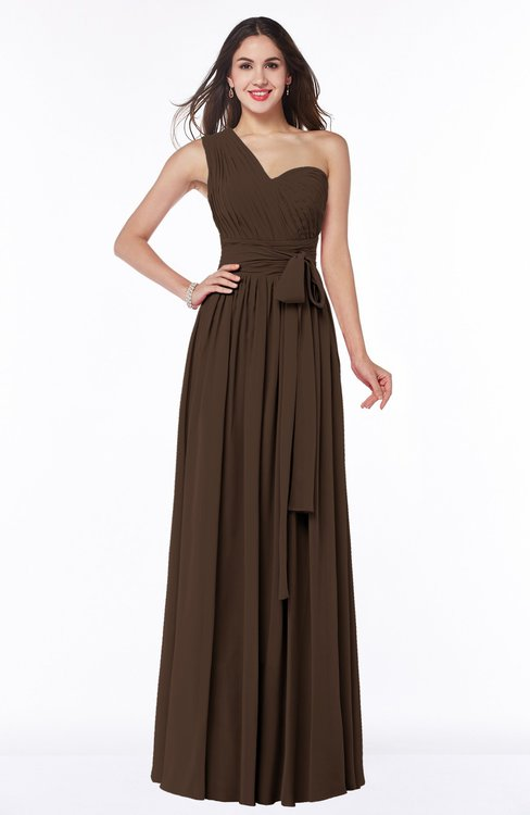 ColsBM Emmeline Copper Modern A-line Half Backless Chiffon Floor Length Ruching Plus Size Bridesmaid Dresses