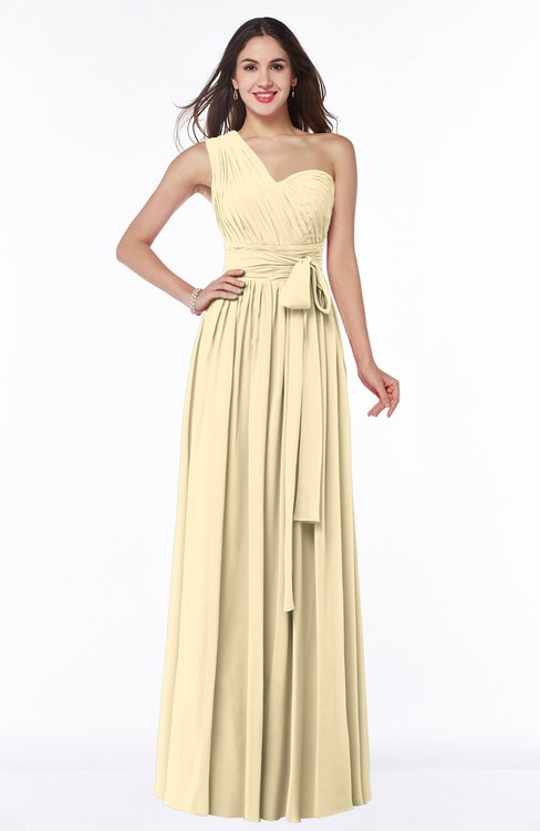 ColsBM Emmeline Cornhusk Modern A-line Half Backless Chiffon Floor Length Ruching Plus Size Bridesmaid Dresses