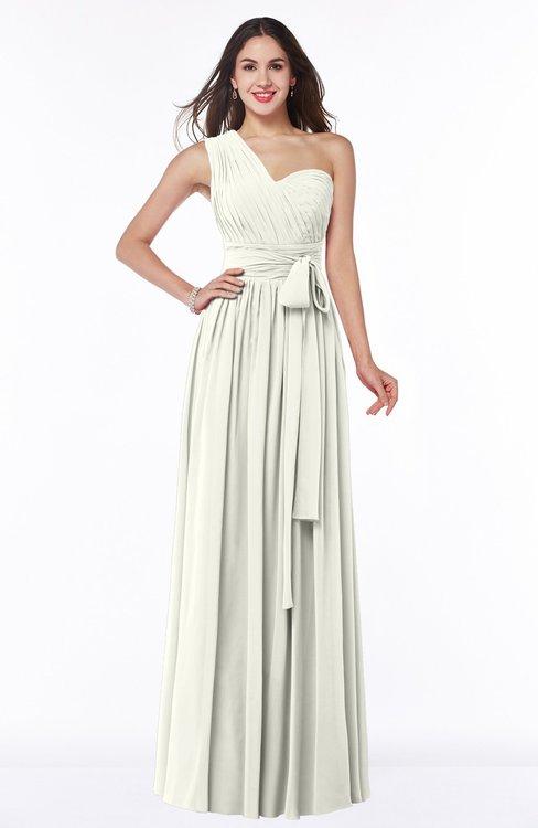 ColsBM Emmeline Cream Modern A-line Half Backless Chiffon Floor Length Ruching Plus Size Bridesmaid Dresses