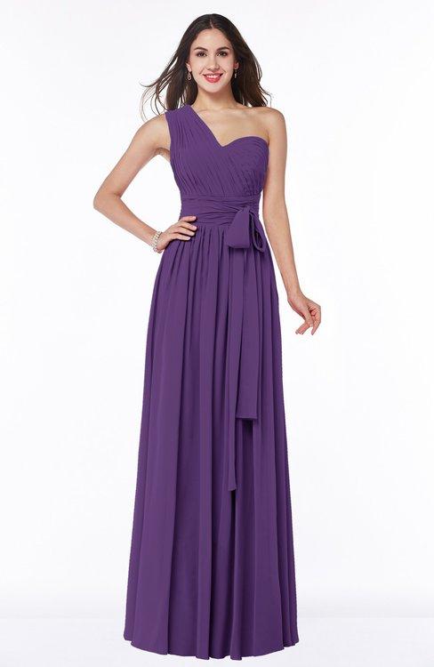 ColsBM Emmeline Dark Purple Modern A-line Half Backless Chiffon Floor Length Ruching Plus Size Bridesmaid Dresses