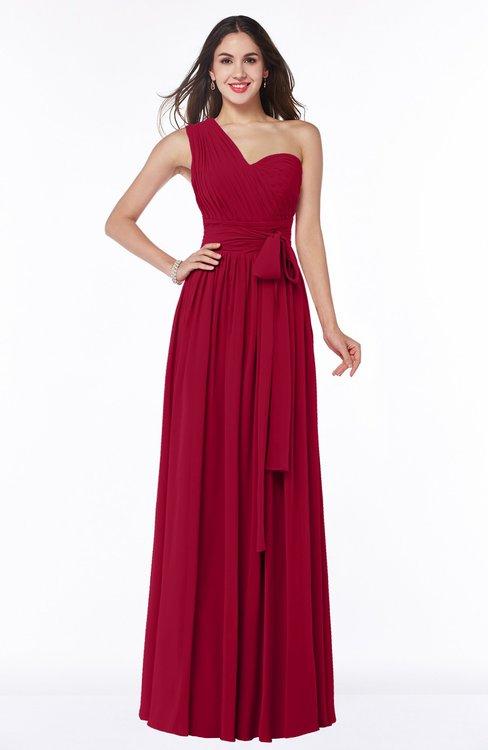 ColsBM Emmeline Dark Red Modern A-line Half Backless Chiffon Floor Length Ruching Plus Size Bridesmaid Dresses