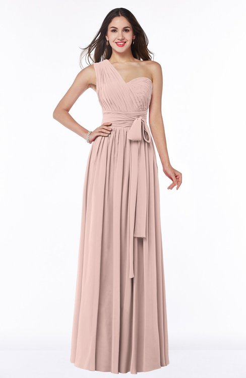 ColsBM Emmeline Dusty Rose Modern A-line Half Backless Chiffon Floor Length Ruching Plus Size Bridesmaid Dresses