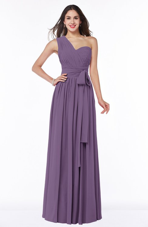 ColsBM Emmeline Eggplant Modern A-line Half Backless Chiffon Floor Length Ruching Plus Size Bridesmaid Dresses