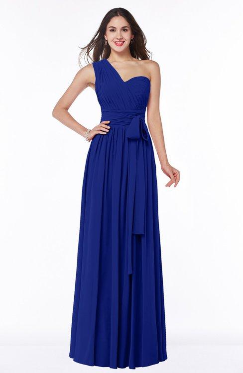 ColsBM Emmeline Electric Blue Modern A-line Half Backless Chiffon Floor Length Ruching Plus Size Bridesmaid Dresses