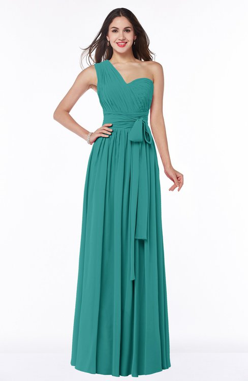 ColsBM Emmeline Emerald Green Modern A-line Half Backless Chiffon Floor Length Ruching Plus Size Bridesmaid Dresses