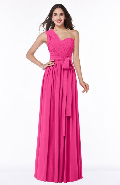 ColsBM Emmeline Fandango Pink Modern A-line Half Backless Chiffon Floor Length Ruching Plus Size Bridesmaid Dresses