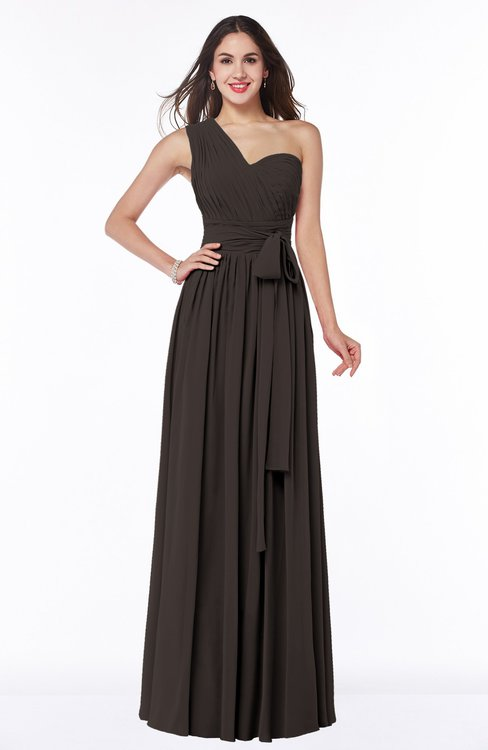 ColsBM Emmeline Fudge Brown Modern A-line Half Backless Chiffon Floor Length Ruching Plus Size Bridesmaid Dresses