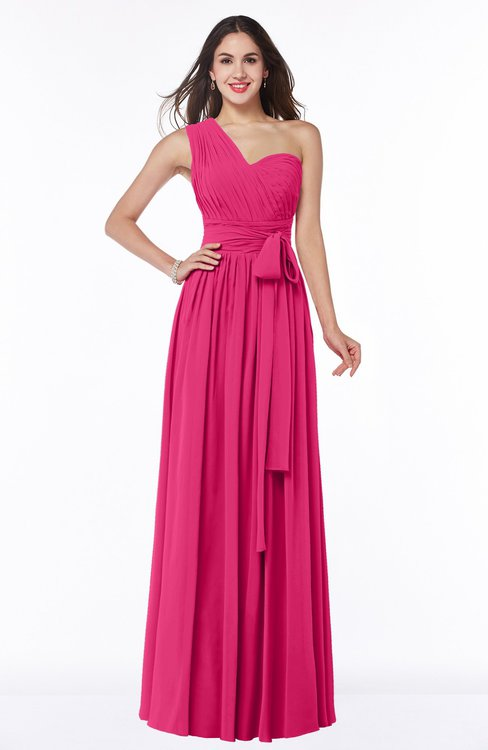 ColsBM Emmeline Fuschia Modern A-line Half Backless Chiffon Floor Length Ruching Plus Size Bridesmaid Dresses