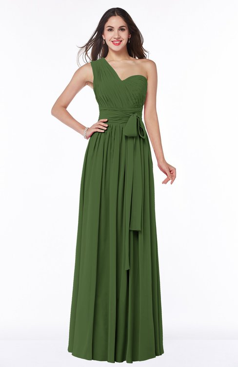 ColsBM Emmeline Garden Green Modern A-line Half Backless Chiffon Floor Length Ruching Plus Size Bridesmaid Dresses