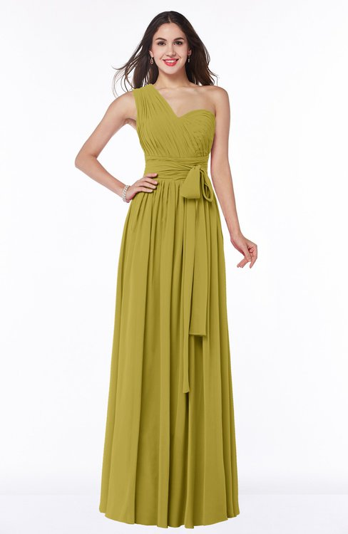 ColsBM Emmeline Golden Olive Modern A-line Half Backless Chiffon Floor Length Ruching Plus Size Bridesmaid Dresses