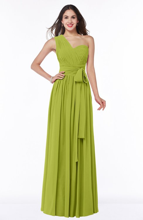 ColsBM Emmeline Green Oasis Modern A-line Half Backless Chiffon Floor Length Ruching Plus Size Bridesmaid Dresses