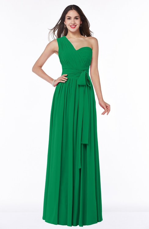 ColsBM Emmeline Green Modern A-line Half Backless Chiffon Floor Length Ruching Plus Size Bridesmaid Dresses