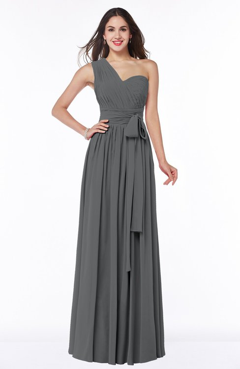 ColsBM Emmeline Grey Modern A-line Half Backless Chiffon Floor Length Ruching Plus Size Bridesmaid Dresses
