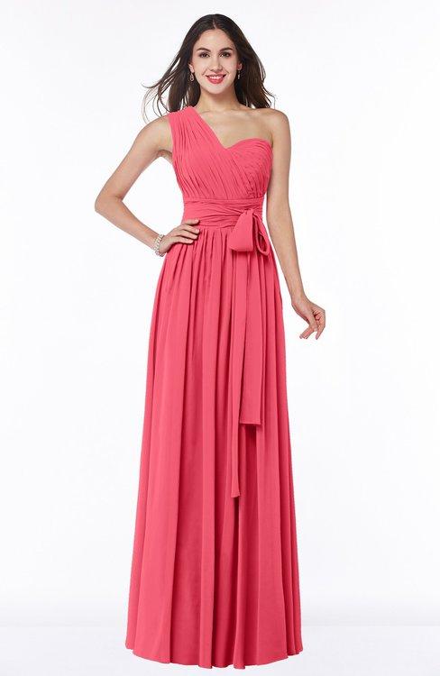 ColsBM Emmeline Guava Modern A-line Half Backless Chiffon Floor Length Ruching Plus Size Bridesmaid Dresses