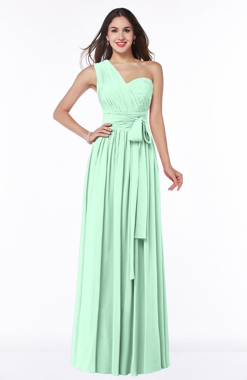 ColsBM Emmeline Honeydew Modern A-line Half Backless Chiffon Floor Length Ruching Plus Size Bridesmaid Dresses