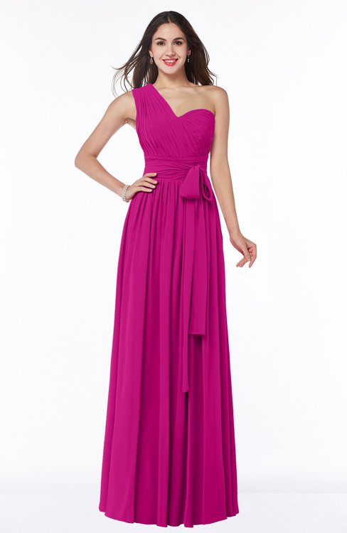 ColsBM Emmeline Hot Pink Modern A-line Half Backless Chiffon Floor Length Ruching Plus Size Bridesmaid Dresses