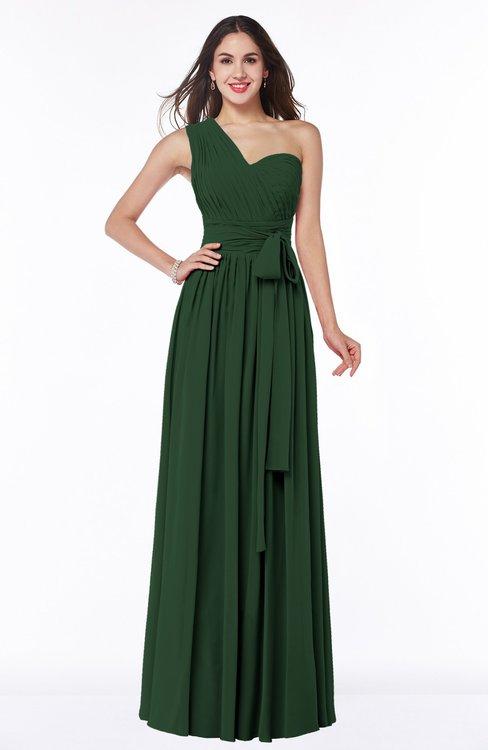 ColsBM Emmeline Hunter Green Modern A-line Half Backless Chiffon Floor Length Ruching Plus Size Bridesmaid Dresses