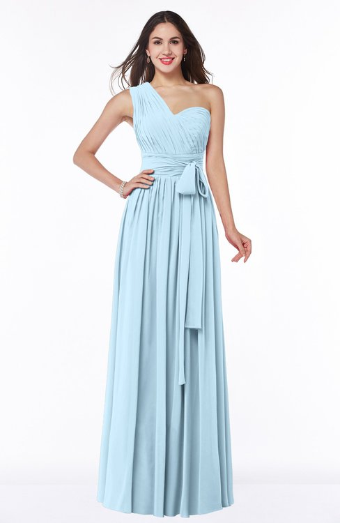 ColsBM Emmeline Ice Blue Modern A-line Half Backless Chiffon Floor Length Ruching Plus Size Bridesmaid Dresses