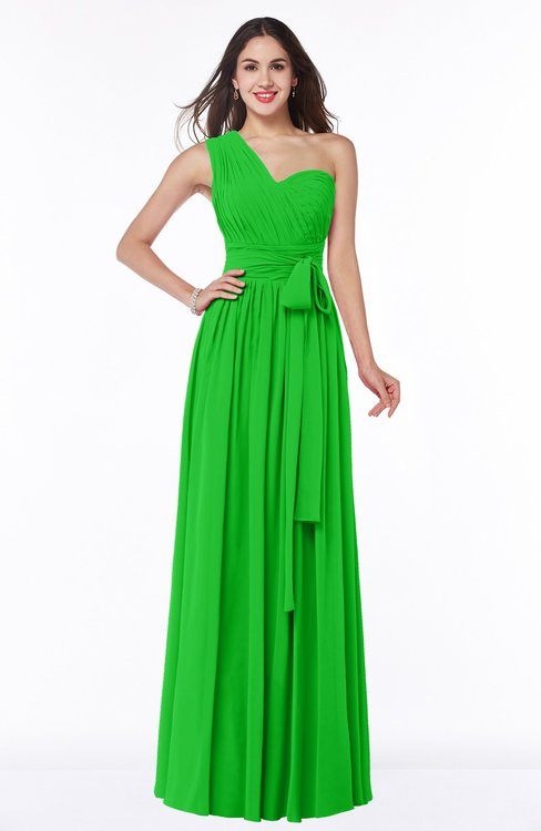 ColsBM Emmeline Jasmine Green Modern A-line Half Backless Chiffon Floor Length Ruching Plus Size Bridesmaid Dresses