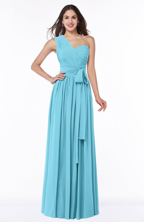 ColsBM Emmeline Light Blue Modern A-line Half Backless Chiffon Floor Length Ruching Plus Size Bridesmaid Dresses