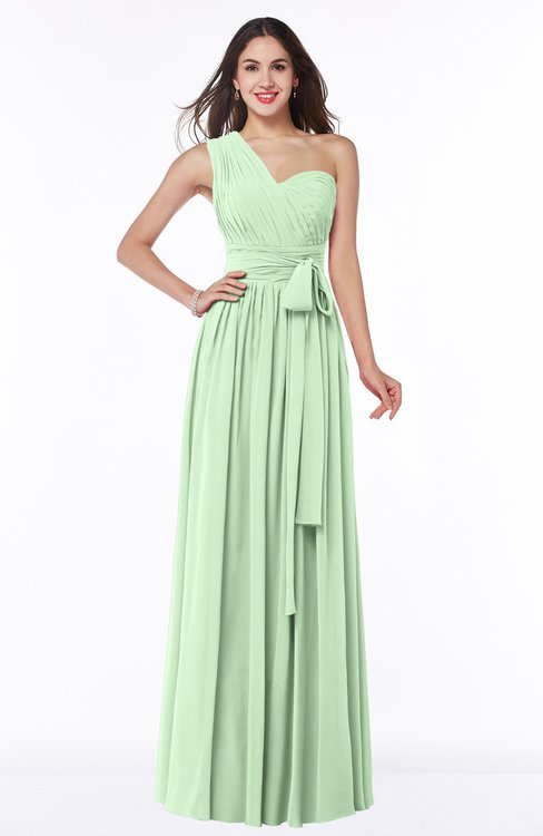 ColsBM Emmeline Light Green Modern A-line Half Backless Chiffon Floor Length Ruching Plus Size Bridesmaid Dresses