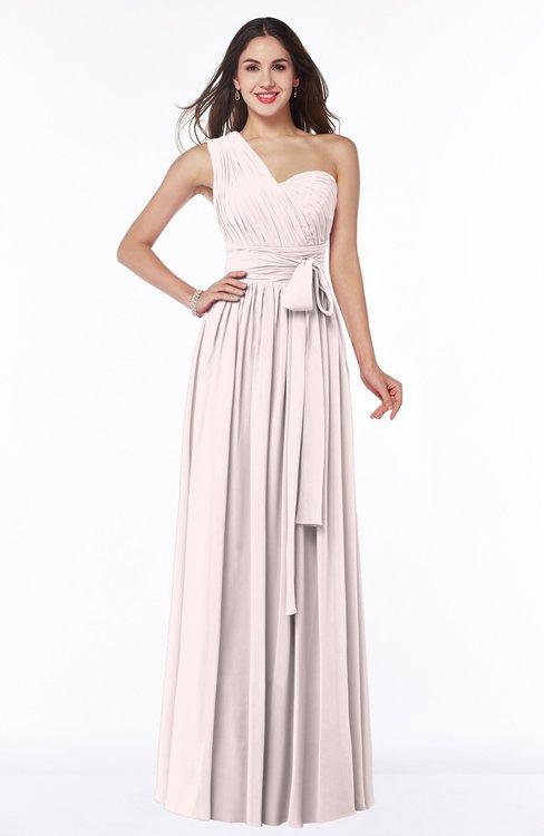 ColsBM Emmeline Light Pink Modern A-line Half Backless Chiffon Floor Length Ruching Plus Size Bridesmaid Dresses