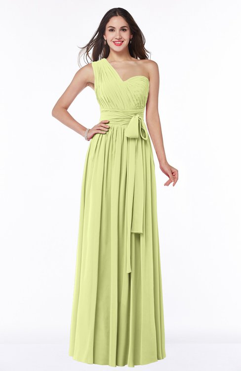 ColsBM Emmeline Lime Green Modern A-line Half Backless Chiffon Floor Length Ruching Plus Size Bridesmaid Dresses