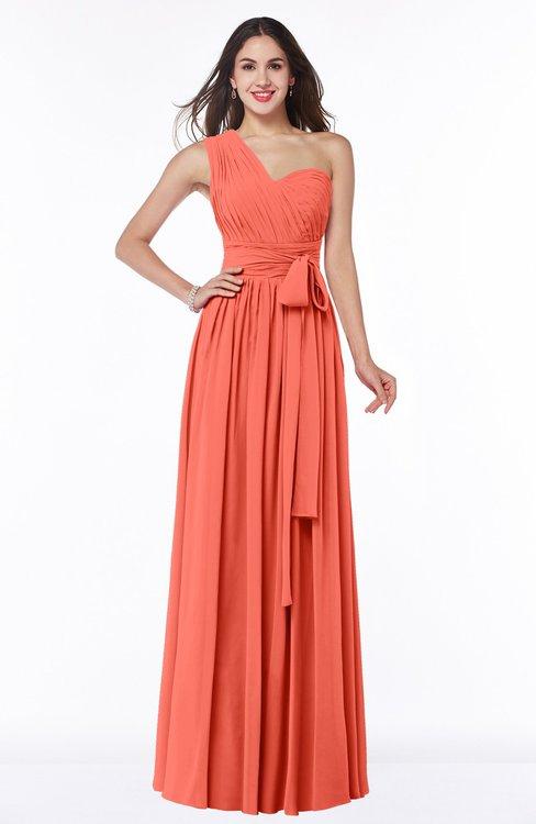 ColsBM Emmeline Living Coral Modern A-line Half Backless Chiffon Floor Length Ruching Plus Size Bridesmaid Dresses