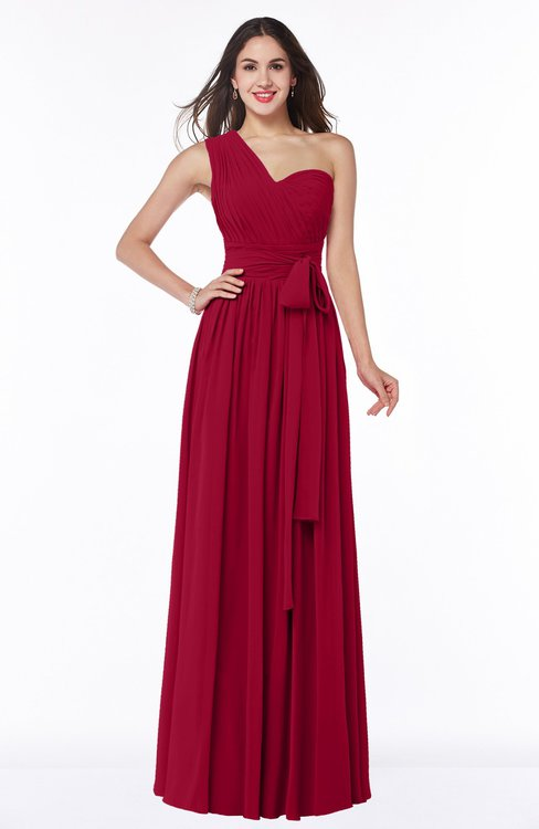 ColsBM Emmeline Maroon Modern A-line Half Backless Chiffon Floor Length Ruching Plus Size Bridesmaid Dresses