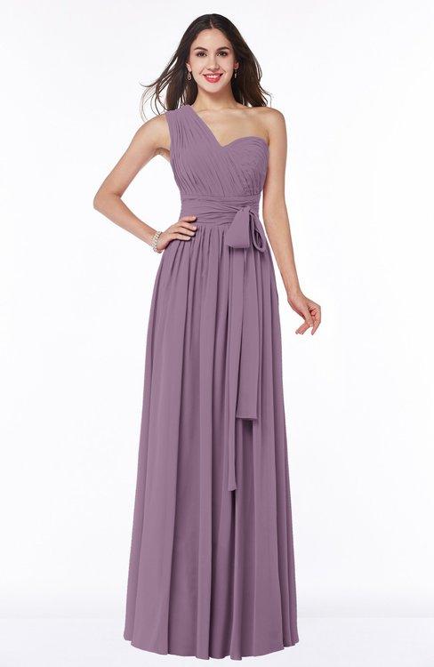 ColsBM Emmeline Mauve Modern A-line Half Backless Chiffon Floor Length Ruching Plus Size Bridesmaid Dresses