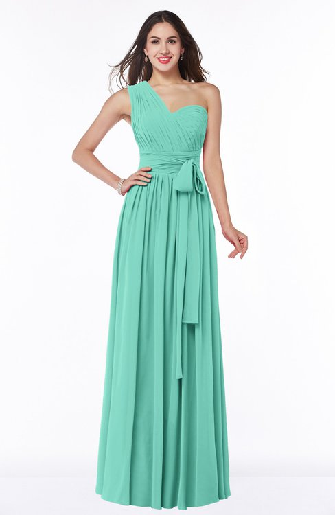 ColsBM Emmeline Mint Green Modern A-line Half Backless Chiffon Floor Length Ruching Plus Size Bridesmaid Dresses
