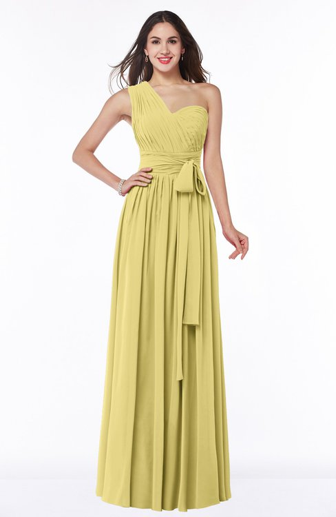 ColsBM Emmeline Misted Yellow Modern A-line Half Backless Chiffon Floor Length Ruching Plus Size Bridesmaid Dresses