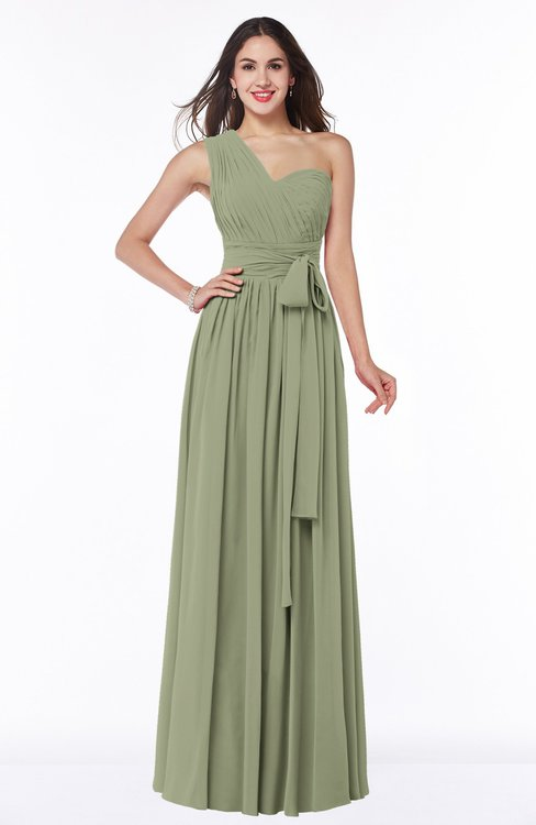 ColsBM Emmeline Moss Green Modern A-line Half Backless Chiffon Floor Length Ruching Plus Size Bridesmaid Dresses