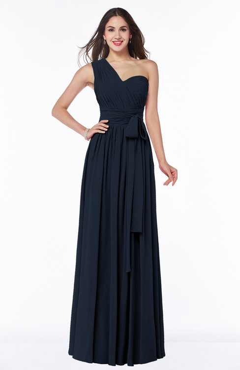 ColsBM Emmeline Navy Blue Modern A-line Half Backless Chiffon Floor Length Ruching Plus Size Bridesmaid Dresses