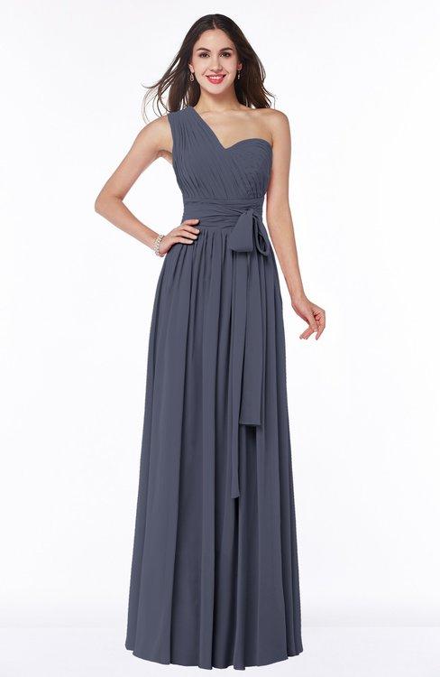ColsBM Emmeline Nightshadow Blue Modern A-line Half Backless Chiffon Floor Length Ruching Plus Size Bridesmaid Dresses