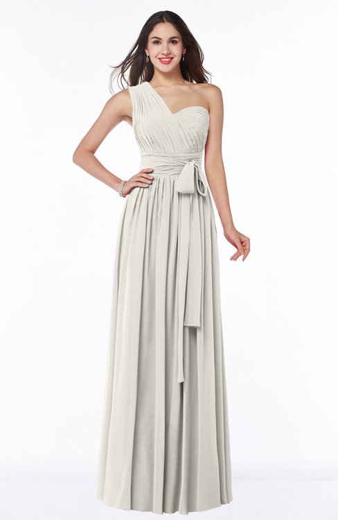 ColsBM Emmeline Off White Modern A-line Half Backless Chiffon Floor Length Ruching Plus Size Bridesmaid Dresses