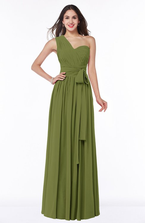 ColsBM Emmeline Olive Green Modern A-line Half Backless Chiffon Floor Length Ruching Plus Size Bridesmaid Dresses