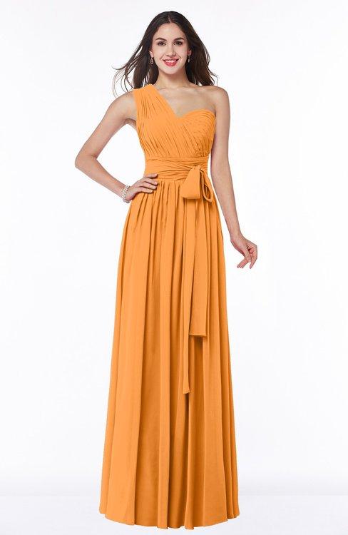 ColsBM Emmeline Orange Modern A-line Half Backless Chiffon Floor Length Ruching Plus Size Bridesmaid Dresses